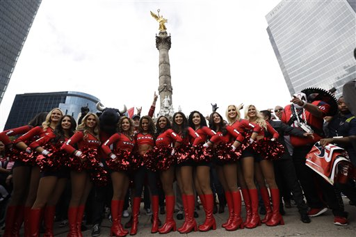 <div class='meta'><div class='origin-logo' data-origin='AP'></div><span class='caption-text' data-credit='AP Photo/Gregory Bull'>Houston Texans cheerleaders perform in front of the Angel of Independence monument Sunday, Nov. 20, 2016, in Mexico City.</span></div>