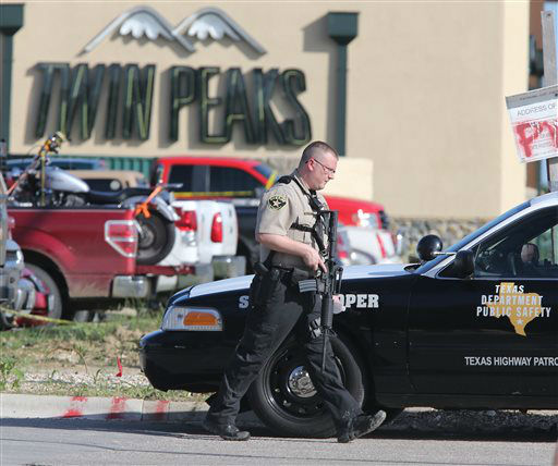 <div class='meta'><div class='origin-logo' data-origin='none'></div><span class='caption-text' data-credit='AP Photo/ Jerry Larson'>Authorities investigate a shooting in the parking lot of the Twin Peaks restaurant Sunday, May 17, 2015, in Waco, Texas</span></div>