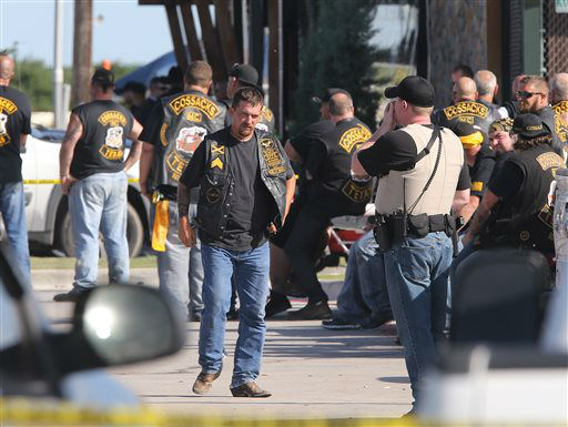 <div class='meta'><div class='origin-logo' data-origin='none'></div><span class='caption-text' data-credit='AP Photo/ Jerry Larson'>People stand as officers investigate a shooting in the parking lot of the Twin Peaks restaurant Sunday, May 17, 2015, in Waco, Texas</span></div>