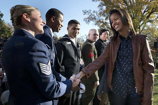 <div class='meta'><div class='origin-logo' data-origin='none'></div><span class='caption-text' data-credit='AP'>Malia Obama greets members of the military after attending a turkey pardoning by President Obama, on the occasion of Thanksgiving, Nov. 21, 2012.  (AP Photo/Jacquelyn Martin)</span></div>