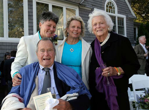 <div class='meta'><div class='origin-logo' data-origin='none'></div><span class='caption-text' data-credit='AP Photo/ Susan Biddle'>In this Sept. 21, 2013 photo, former President George H.W. Bush and  former first lady Barbara Bush, pose for photos after wedding of longtime friends in Kennebunkport, Maine.</span></div>