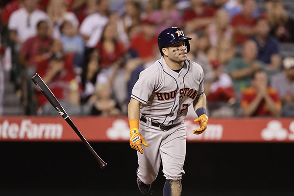 "<div class=""meta image-caption""><div class=""origin-logo origin-image ap""><span>AP</span></div><span class=""caption-text"">Houston Astros' Jose Altuve watches his fly ball during the third inning of a baseball game against the Los Angeles Angels, Saturday, Oct. 1, 2016, in Anaheim, Calif. (AP Photo/Jae C. Hong)</span></div>"