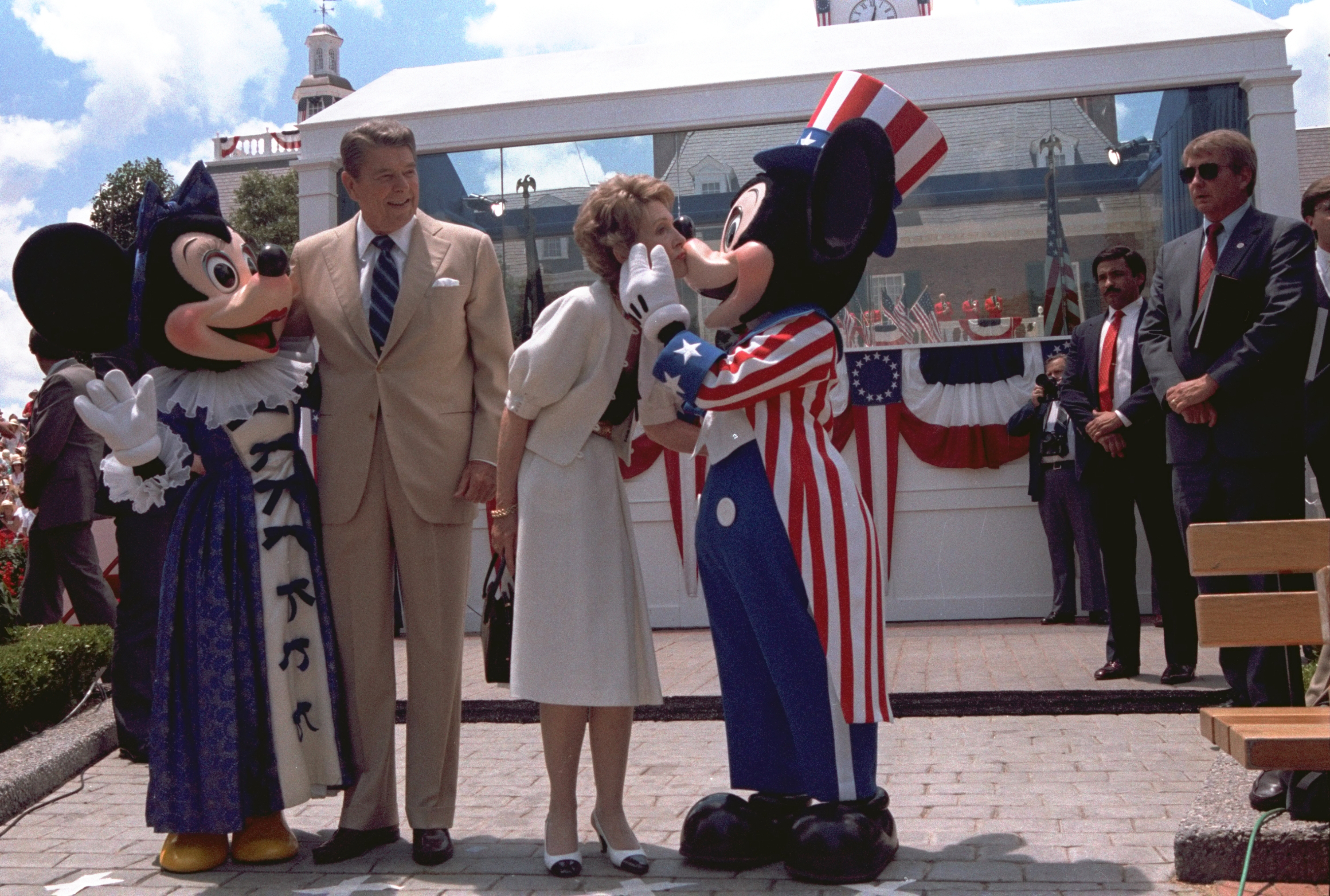 <div class='meta'><div class='origin-logo' data-origin='none'></div><span class='caption-text' data-credit='AP Photo/Scott Stewart'>President Reagan and Mrs. Nancy Reagan are shown embracing Minnie Mouse and Mickey Mouse at the Epcot Center in Walt Disney World, in Orlando, Florida, on May 27, 1985.</span></div>