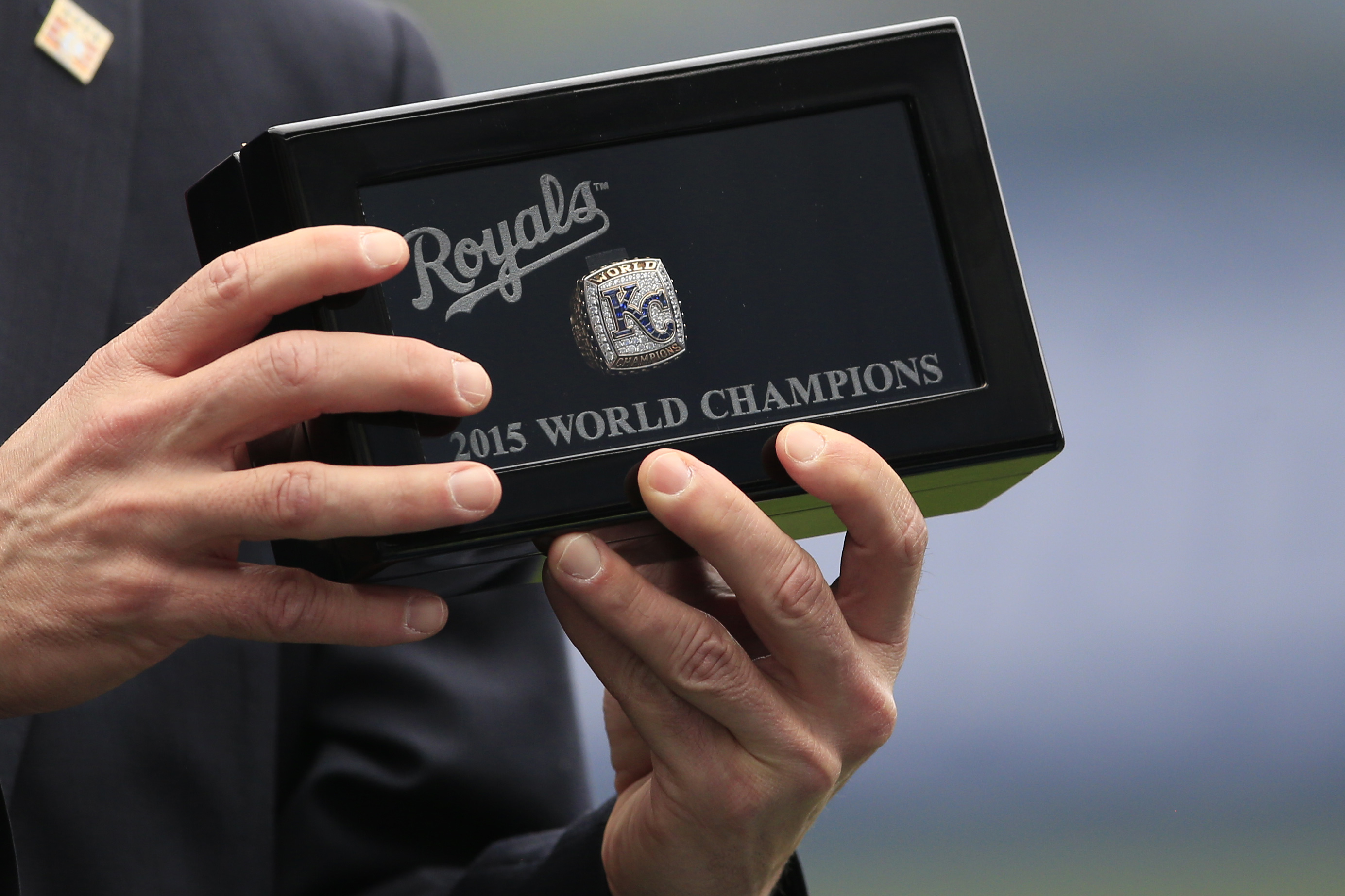 <div class='meta'><div class='origin-logo' data-origin='AP'></div><span class='caption-text' data-credit='AP Photo/Orlin Wagner'>Jeff Idelson, Hall of Fame president, holds a World Series ring before a baseball game between the Kansas City Royals and the New York Mets at Kauffman Stadium in Kansas City, Mo.</span></div>