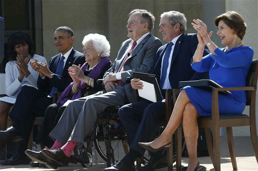"<div class=""meta image-caption""><div class=""origin-logo origin-image none""><span>none</span></div><span class=""caption-text"">The current and former presidents and first ladies take part in the dedication of the George W. Bush presidential library April 25, 2013.  (AP Photo/ Charles Dharapak)</span></div>"