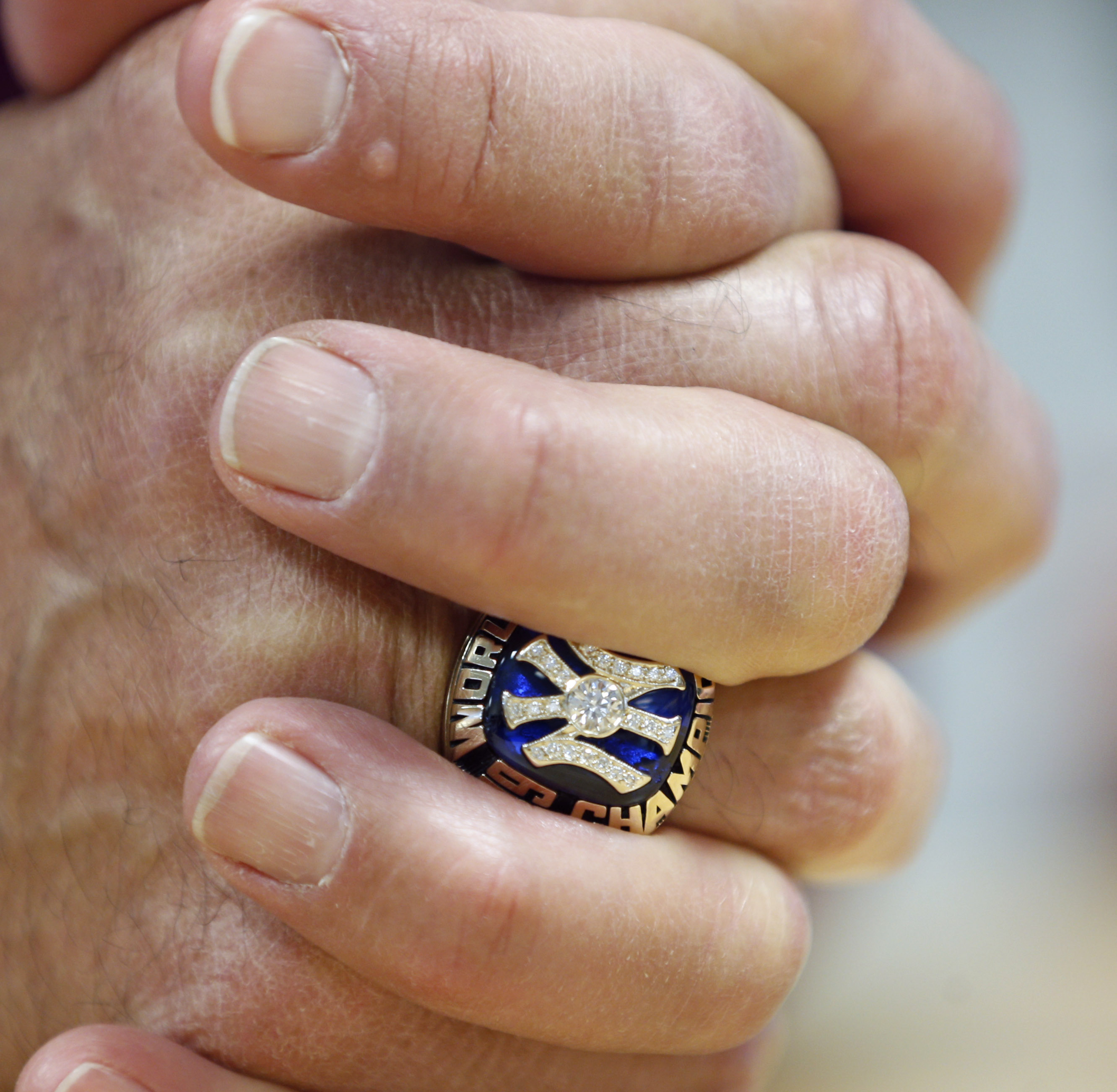 <div class='meta'><div class='origin-logo' data-origin='AP'></div><span class='caption-text' data-credit='AP Photo/Mike Groll'>Former New York Yankees manager Joe Torre wears a World Series ring during his orientation visit at the Baseball Hall of Fame.</span></div>