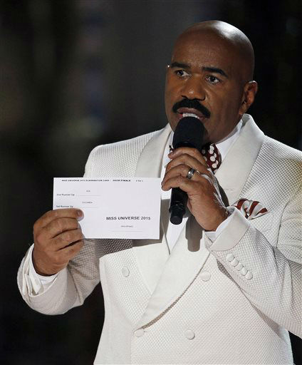 """<div class=""""meta image-caption""""><div class=""""origin-logo origin-image none""""><span>none</span></div><span class=""""caption-text"""">Steve Harvey holds up the card showing the winners after he incorrectly announced Miss Colombia Ariadna Gutierrez as the winner   (AP Photo/ John Locher)</span></div>"""