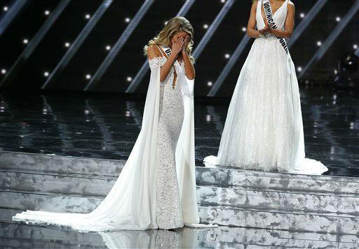 "<div class=""meta image-caption""><div class=""origin-logo origin-image none""><span>none</span></div><span class=""caption-text"">Miss USA Olivia Jordan reacts as she makes it into the final five at the Miss Universe pageant Sunday, Dec. 20, 2015, in Las Vegas.  (AP Photo/ John Locher)</span></div>"