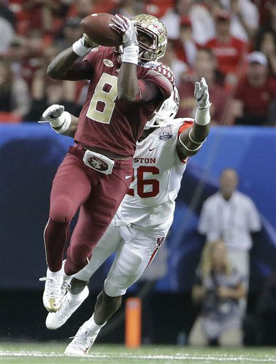 <div class='meta'><div class='origin-logo' data-origin='none'></div><span class='caption-text' data-credit='AP Photo/ David Goldman'>Florida State wide receiver Kermit Whitfield (8) makes the catch against Houston cornerback Brandon Wilson (26)</span></div>