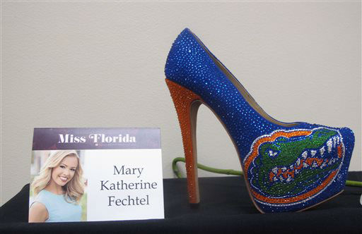 "<div class=""meta image-caption""><div class=""origin-logo origin-image none""><span>none</span></div><span class=""caption-text"">The footwear that Miss Florida will wear in the Miss America pageant's ""Show Us Your Shoes"" parade is on display Tuesday, Sept. 8, 2015 in Atlantic City, N.J. (AP Photo/ Wayne Parry)</span></div>"