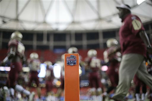 <div class='meta'><div class='origin-logo' data-origin='none'></div><span class='caption-text' data-credit='AP Photo/ David Goldman'>Florida State team members warm up before the first half of the Peach Bowl</span></div>