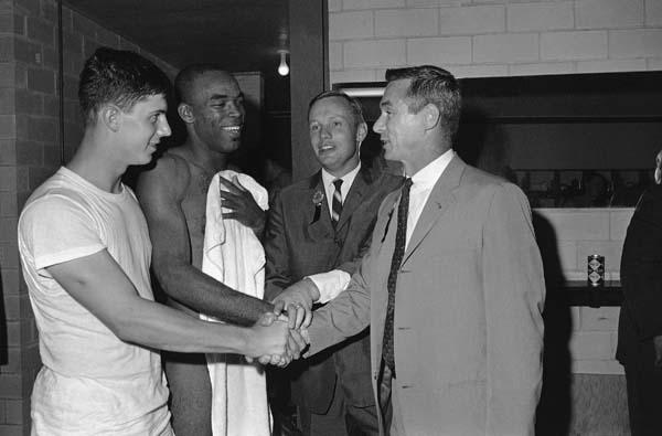 <div class='meta'><div class='origin-logo' data-origin='AP'></div><span class='caption-text' data-credit='ASSOCIATED PRESS'>Purdue alumni Astronauts Neil Armstrong and Eugene Cernan, right, congratulate Purdue quarterback Mike Phipps, left, and halfback Leroy Keyes. (AP Photo/Ferd Kaufman)</span></div>