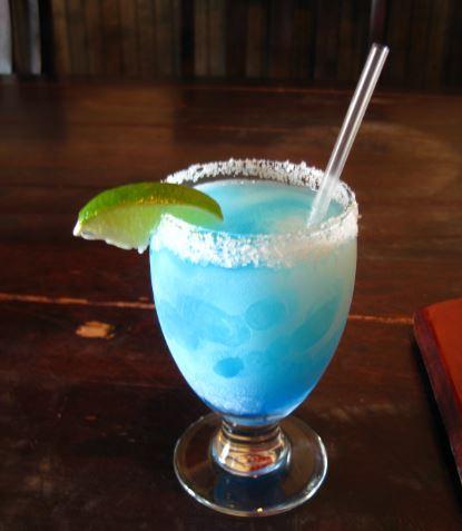 El Patio, Skinny Blue Margarita 1.25 Oz Jimador Silver Tequila 0.75 Oz  Triple Sec 0.50 Oz Blue Curacao 1.25 Oz Agave Nectar 1.25oz Fresh Lime  Juice.