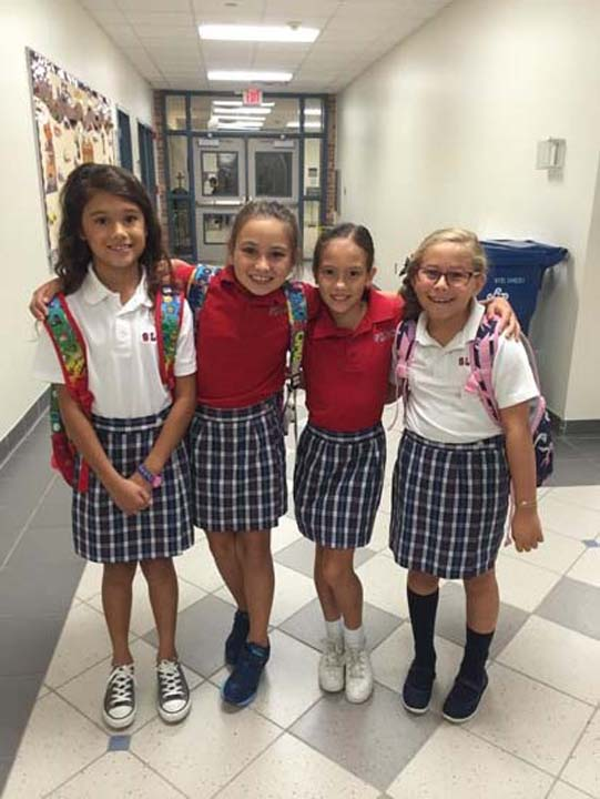 """<div class=""""meta image-caption""""><div class=""""origin-logo origin-image none""""><span>none</span></div><span class=""""caption-text"""">Giselle, Gabi , Angie and Camila's first day of school at St. Laurence Catholic School in Sugar Land</span></div>"""