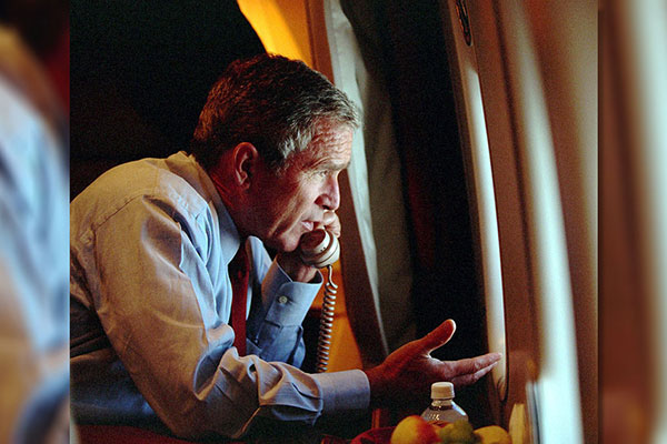 <div class='meta'><div class='origin-logo' data-origin='AP'></div><span class='caption-text' data-credit='The White House, Eric Draper, HO'>President Bush speaks to Vice President Dick Cheney by phone aboard Air Force One after departing Offutt Air Force Base in Nebraska, Tuesday, Sept. 11, 2001.</span></div>