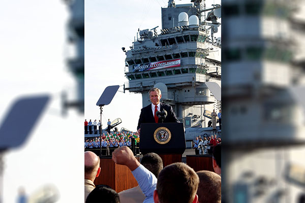 <div class='meta'><div class='origin-logo' data-origin='AP'></div><span class='caption-text' data-credit='J. Scott Applewhite'>President Bush declares the end of major combat in Iraq as he speaks aboard the aircraft carrier USS Abraham Lincoln off the California coast May 1, 2003.</span></div>