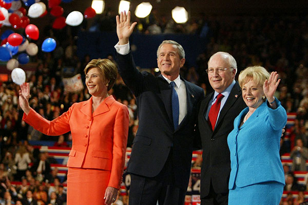 <div class='meta'><div class='origin-logo' data-origin='AP'></div><span class='caption-text' data-credit='Charles Dharapak'>President Bush and Laura Bush wave with Vice President Dick Cheney and Lynne Cheney following the President's acceptance speech during the final night of the RNC in 2004.</span></div>