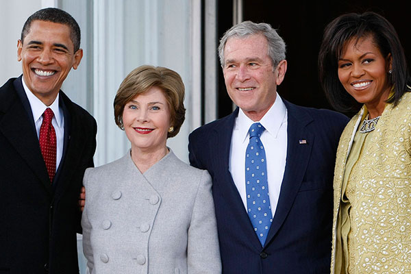 <div class='meta'><div class='origin-logo' data-origin='AP'></div><span class='caption-text' data-credit='Pablo Martinez Monsivais'>President Bush and first lady Laura Bush welcome President-elect Barack Obama and his wife Michelle Obama on the North Portico of the White House in Washington, Jan. 20, 2009.</span></div>