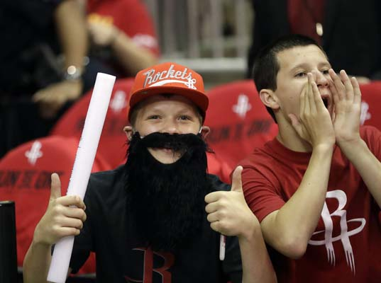 "<div class=""meta image-caption""><div class=""origin-logo origin-image ktrk""><span>KTRK</span></div><span class=""caption-text"">Houston Rockets fans cheer before Game 1 of an NBA basketball first-round playoff series between the Houston Rockets and the Oklahoma City Thunder. (AP Photo/David J. Phillip) (AP)</span></div>"