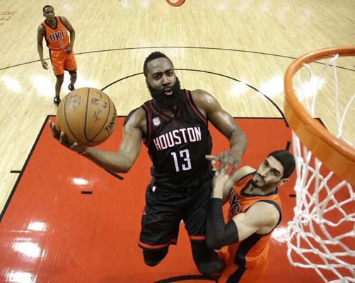 "<div class=""meta image-caption""><div class=""origin-logo origin-image ktrk""><span>KTRK</span></div><span class=""caption-text"">Houston Rockets' James Harden (13) goes up for a shot as Oklahoma City Thunder's Enes Kanter defends during the first half in Game 1. (AP Photo/David J. Phillip) (AP)</span></div>"