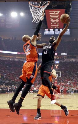 "<div class=""meta image-caption""><div class=""origin-logo origin-image ktrk""><span>KTRK</span></div><span class=""caption-text"">Houston Rockets' James Harden (13) goes up for a shot as Oklahoma City Thunder's Taj Gibson (22) defends during the first half in Game 1. (AP Photo/David J. Phillip) (AP)</span></div>"