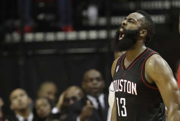 "<div class=""meta image-caption""><div class=""origin-logo origin-image ktrk""><span>KTRK</span></div><span class=""caption-text"">Houston Rockets' James Harden yells after a Oklahoma City Thunder turnover during the second half in Game 1 of an NBA basketball first-round. (AP Photo/David J. Phillip) (AP)</span></div>"