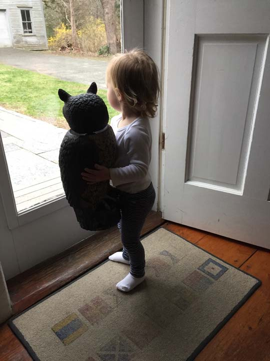 <div class='meta'><div class='origin-logo' data-origin='none'></div><span class='caption-text' data-credit='Rebecca'>Little girl and lawn owl are best friends</span></div>