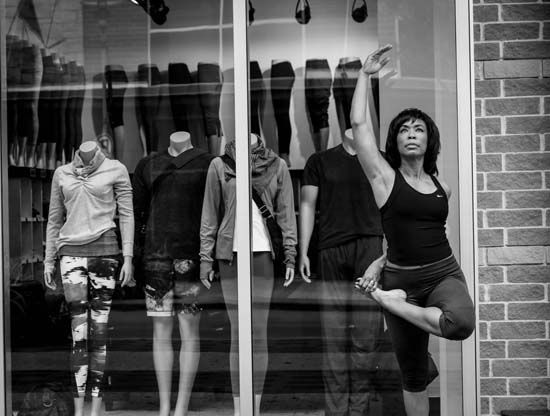 "<div class=""meta image-caption""><div class=""origin-logo origin-image none""><span>none</span></div><span class=""caption-text"">""This is a version of tree pose. Standing next tot he mannequins made me reflect--do you want to fit in or stand out?"" (Gina Gaston/Layla Salek)</span></div>"