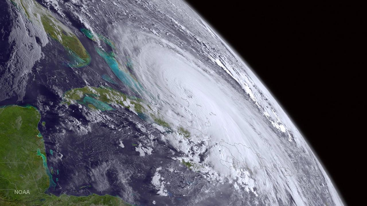 This satellite image taken Thursday, Oct. 1, 2015 at 8 a.m. EDT, and released by the National Oceanic and Atmospheric Administration (NOAA), shows Hurricane Joaquin