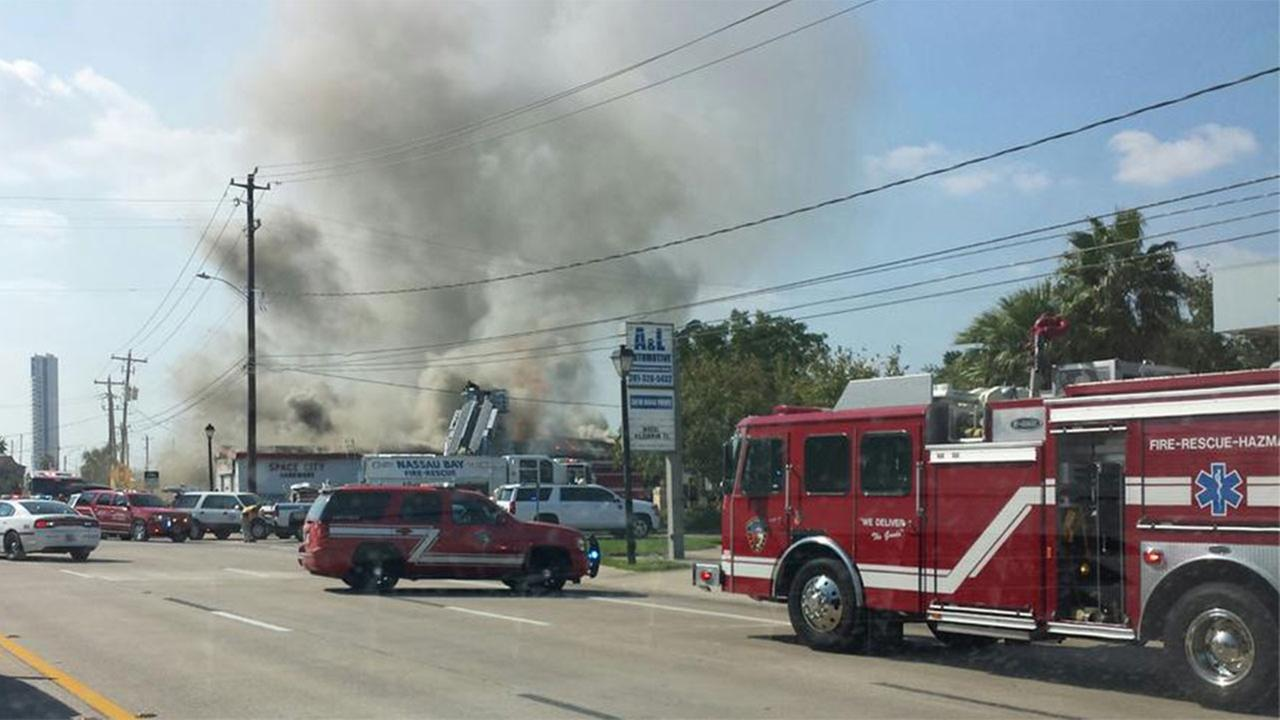 Hardware store catches fire