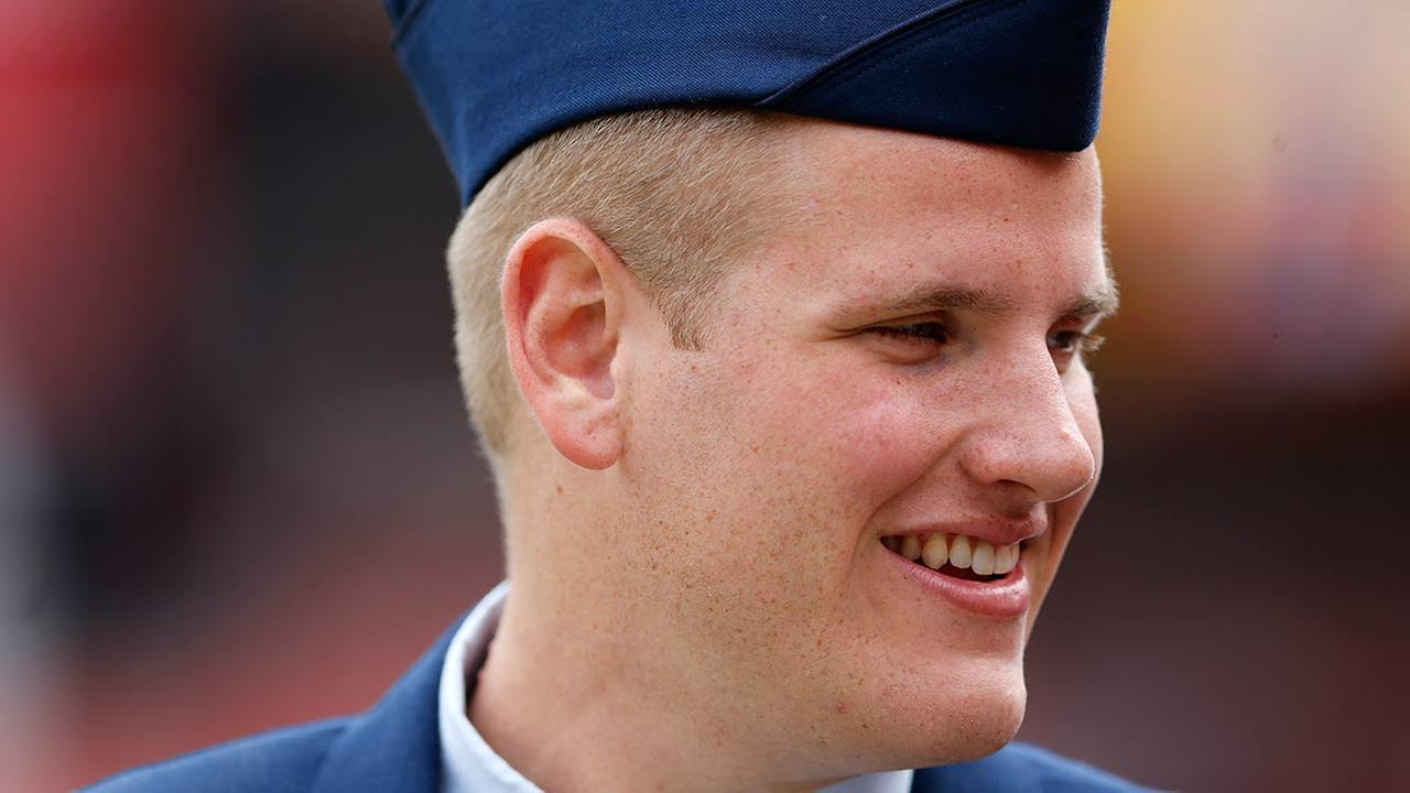 US Air Force Airman 1st Class Spencer Stone who was injured stopping an attack on a Paris bound train