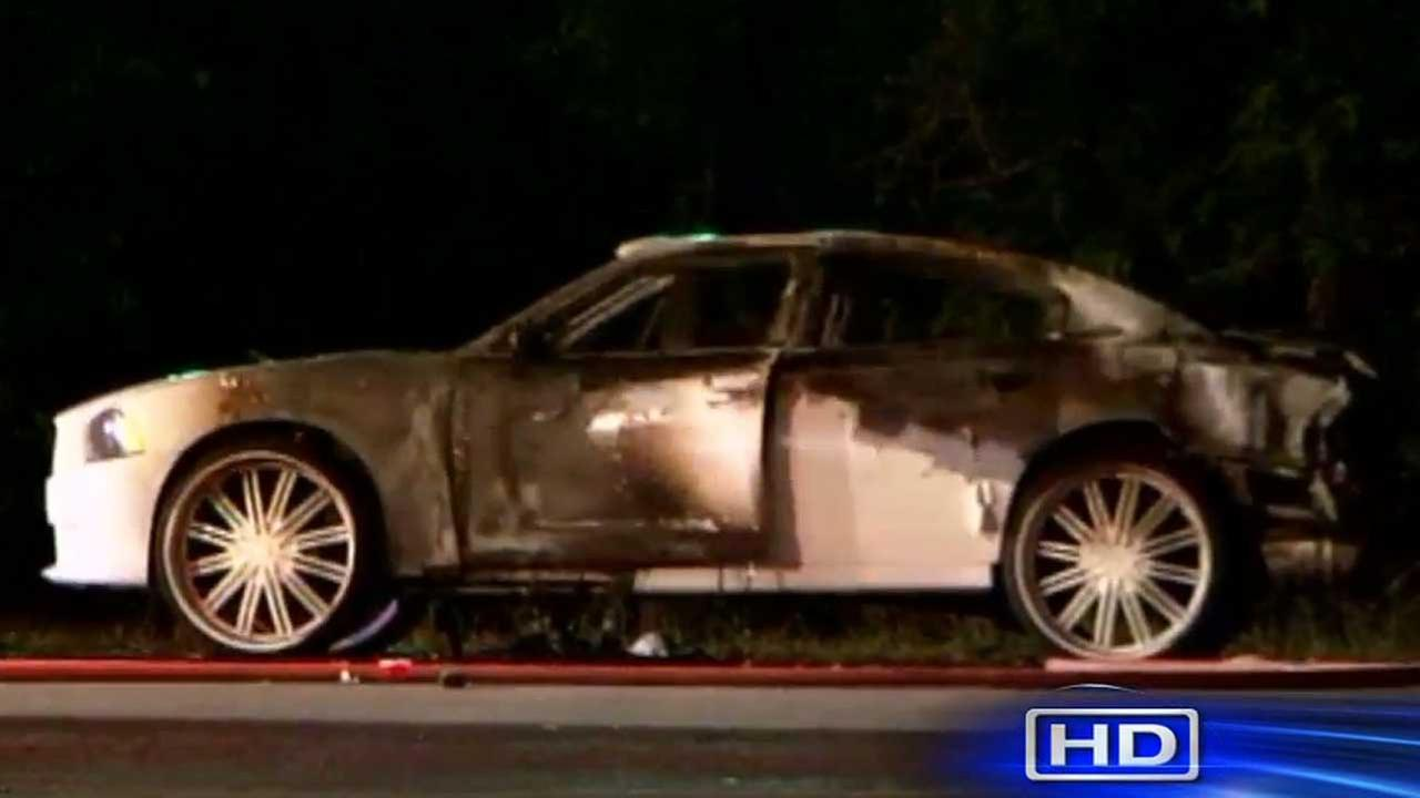 Deputy constables found one person dead in the burned car