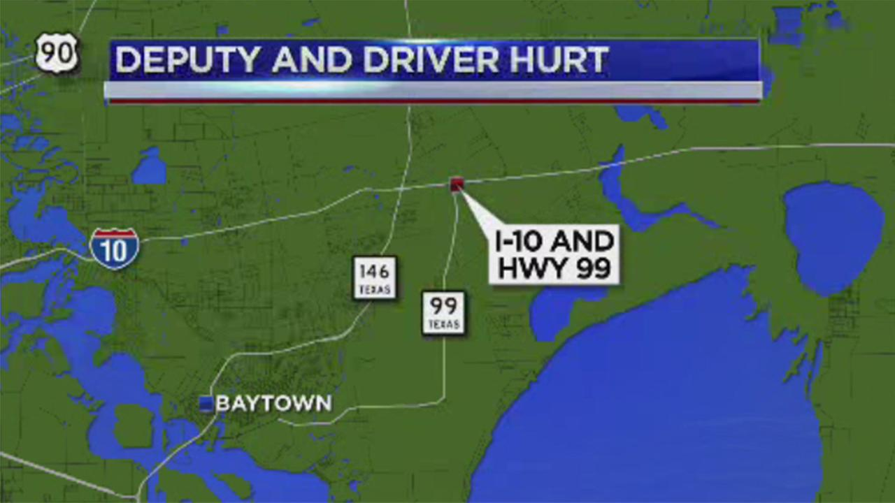 Chambers Co. deputy and driver struck while on shoulder of I-10