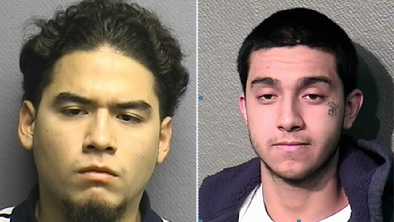 Daniel Moreno, left, is in custody.  Jonathan Vasquez, right, remains on the loose.