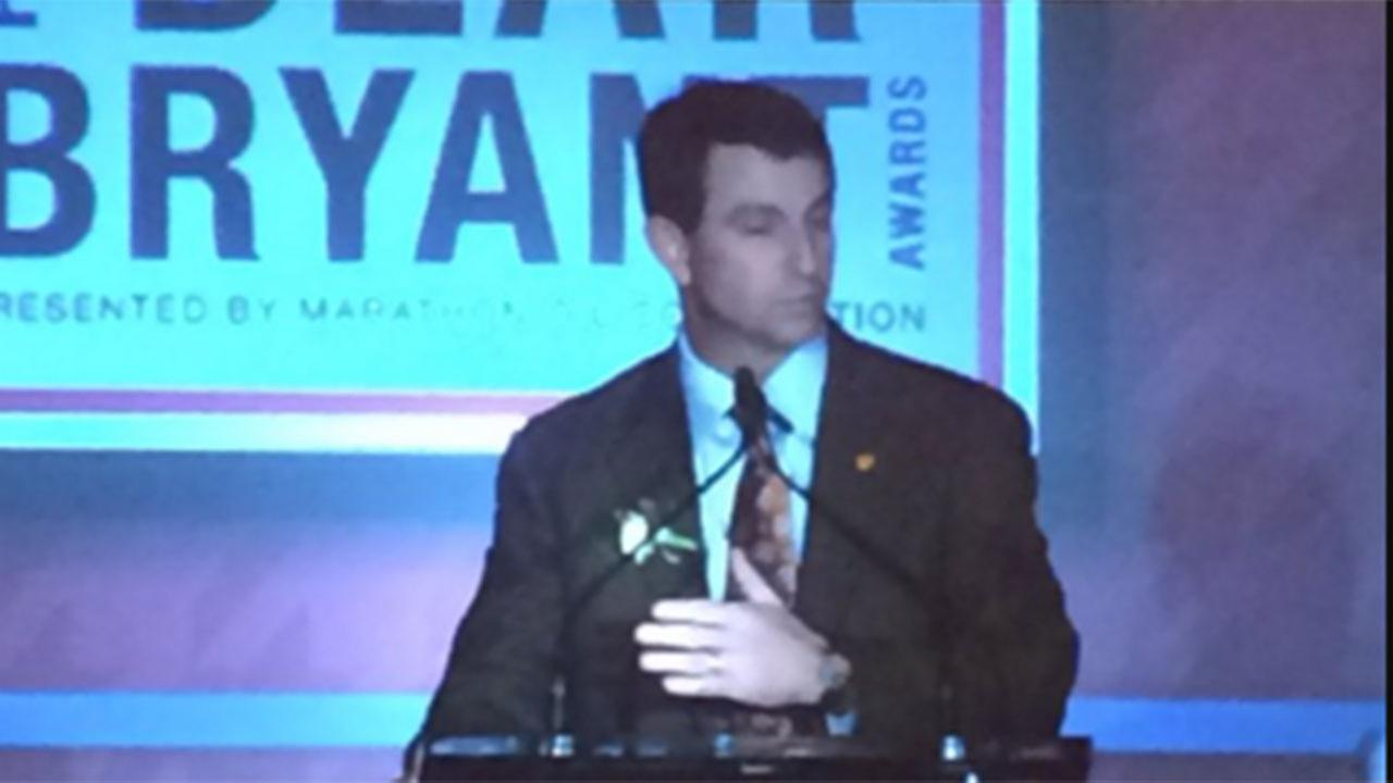 Clemson's head coach Dabo Swinney named coach of the year at Bryant Awards