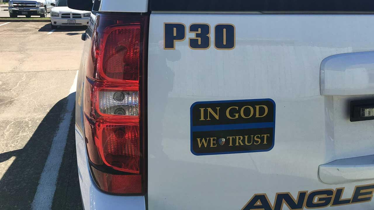 Angleton PD puts stickers of faith on patrol vehicles