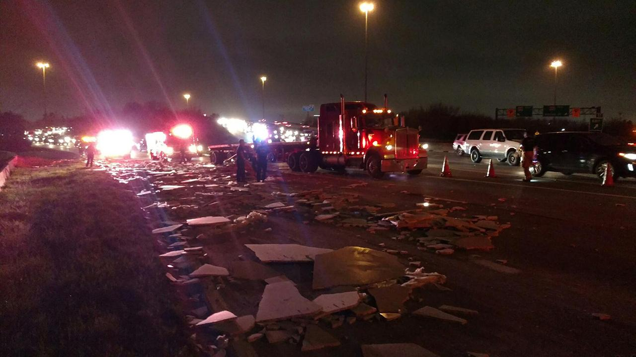 Cleanup ends after heavy truck loses its load on the North Loop