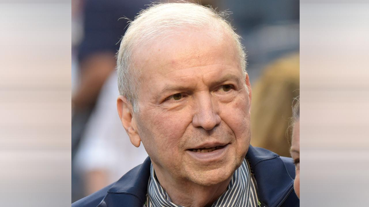 Singer Frank Sinatra Jr. leaves the field after singing the national anthem before the  and Twins play a baseball game Monday, Aug 17, 2015, at Yankee Stadium.