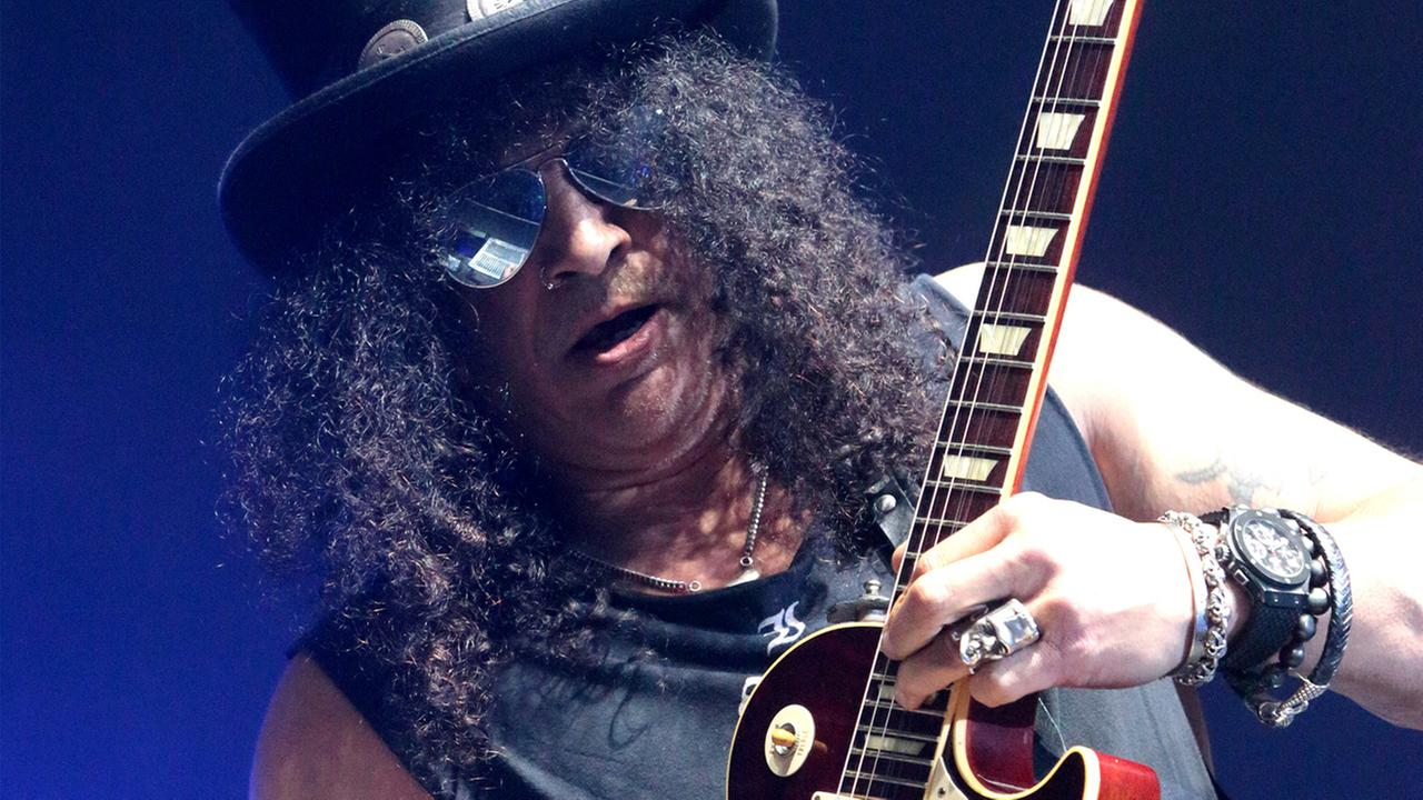 Guitarist Slash, formerly of the band Guns N Roses, performs in concert during the MMRBQ Music Festival 2015 at the Susquehanna Bank Center on Saturday, May 16, 2015, in NJ.