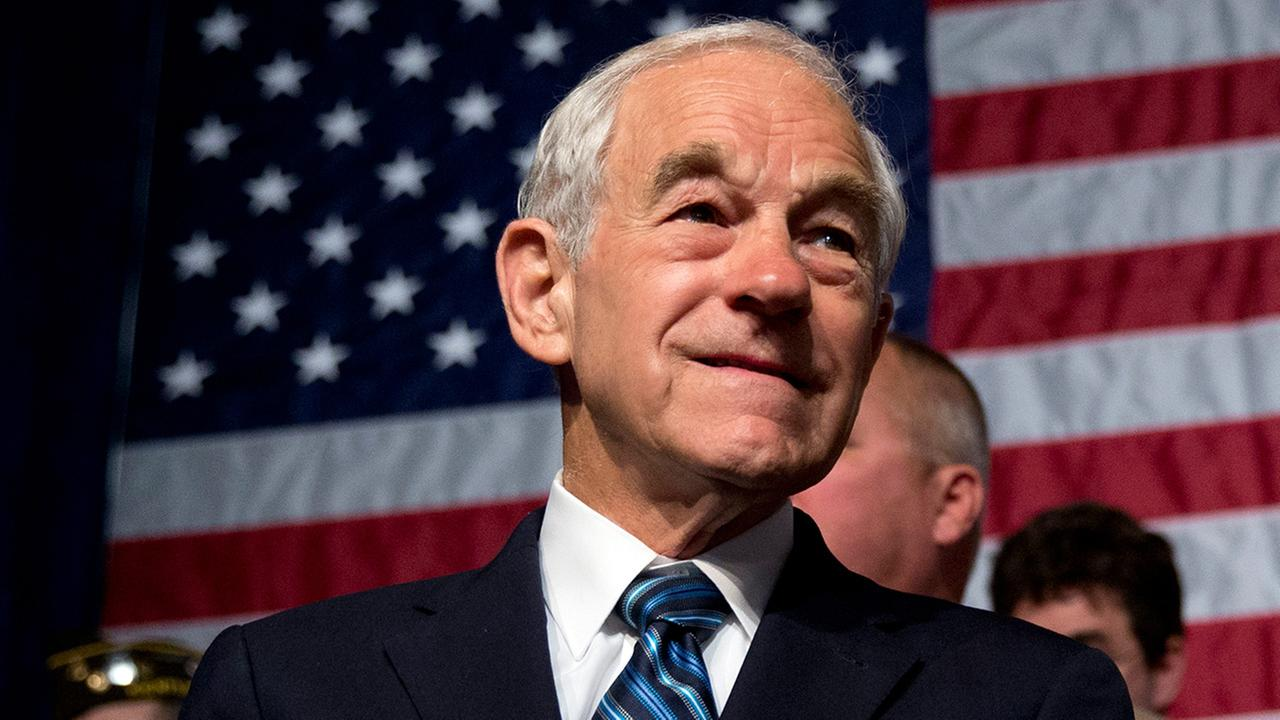 Former Texas Rep. Ron Paul awaits the start of his son, Sen. Rand Paul, R-Ky., announcement of the start of his presidential campaign, Tuesday, April 7, 2015.