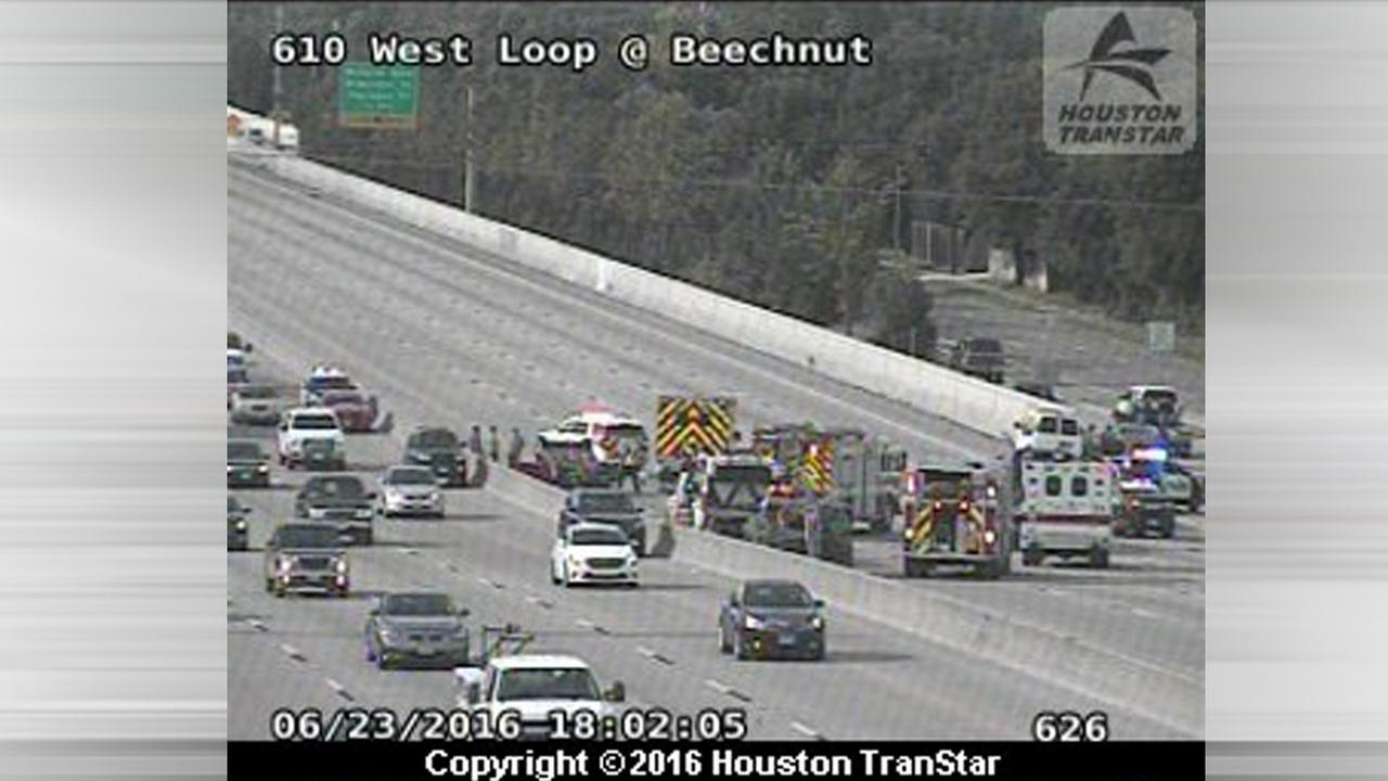 All NB lanes of West Loop at Beechnut shut down due to wreck