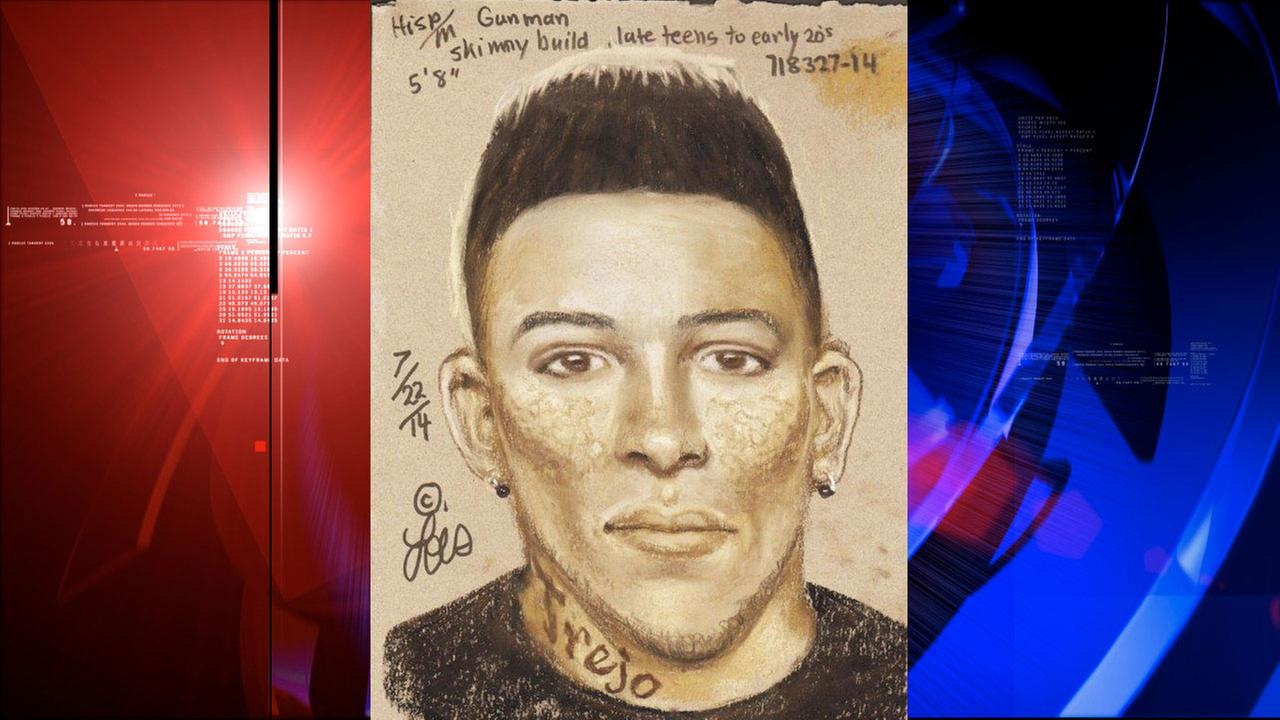 This sketch shows one of the suspects, who is in his early to mid 20s, and stands about 5 feet 7 inches tall. He has black, spiky hair with a mustache and goatee.