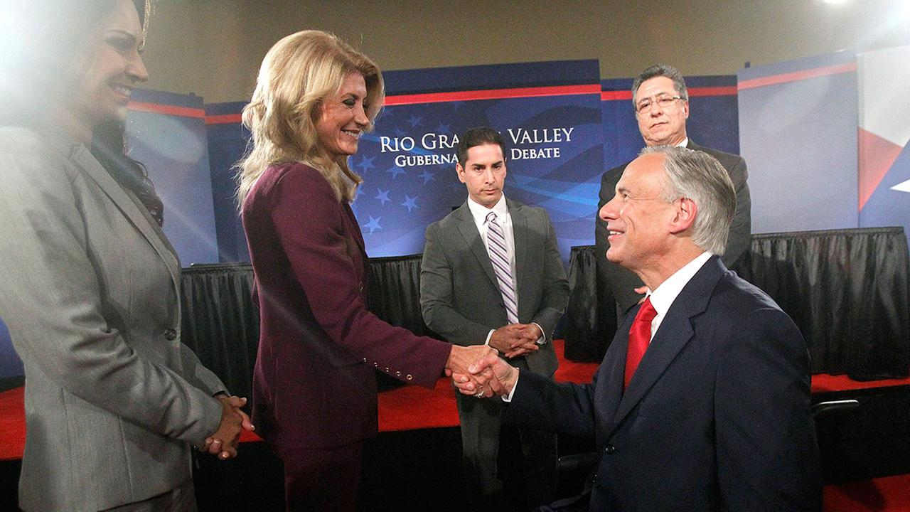 Wendy Davis and Greg Abbott