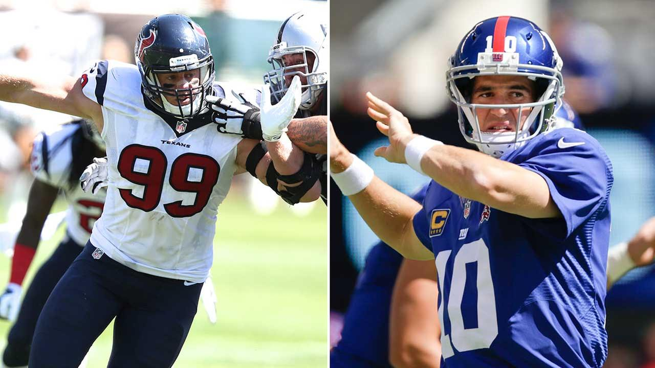 JJ Watt and the Texans defense hope to continue winning the turnover battle today against Eli Manning and the New York Giants