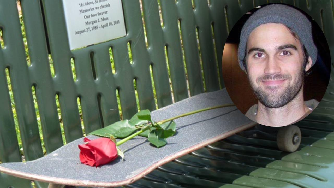 Morgan Moss was an avid skateboarder and photographer. He died in a car accident in 2011. A memorial bench at the Jamail skate park honors his love of the sport