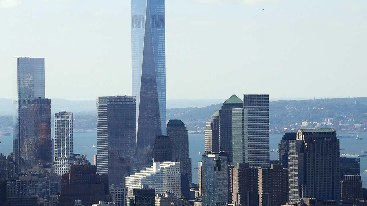 One World Trade Center and the lower Manhattan skyline are seen from the Rainbow Room, New York Citys landmark restaurant atop 30 Rockefeller Plaza, Sunday, Oct. 5, 2014