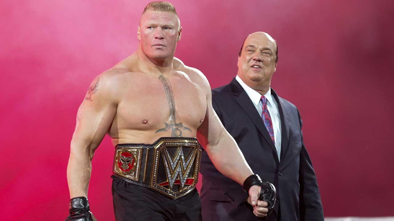 WWE Superstar Brock Lesnar heads to the ring at Wrestle accompanied by manager Paul Heman