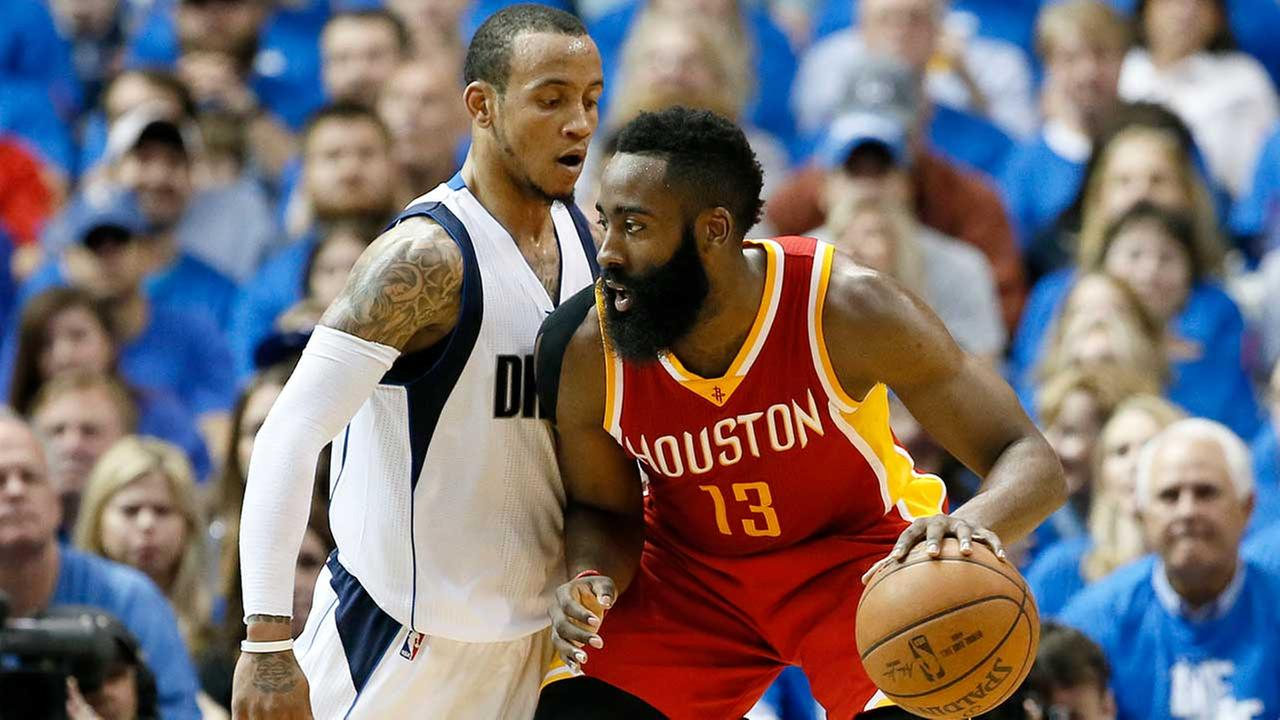 Dallas Mavericks Monta Ellis, left, defends as Houston Rockets James Harden (13) looks for an opening to the basket in the second half of Game 3