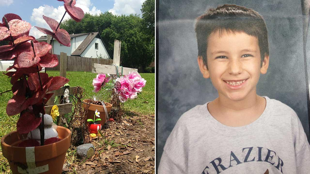 Abraham Bubba Garza, 8, was killed in 2012.  A memorial sits on Blackhawk Road where it happened.