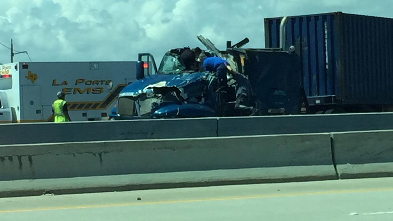 Car falls from overpass in wreck with big rig in la porte for La porte tx breaking news